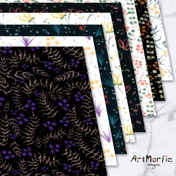 Spring Watercolor Floral Seamless Pattern Bundle | Fabric Printing Scrapbooking and Social Media Digital Paper