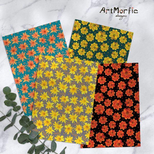 Garden Flowers Seamless Pattern Bundle | Fabric Printing Scrapbooking and Social Media Digital Paper
