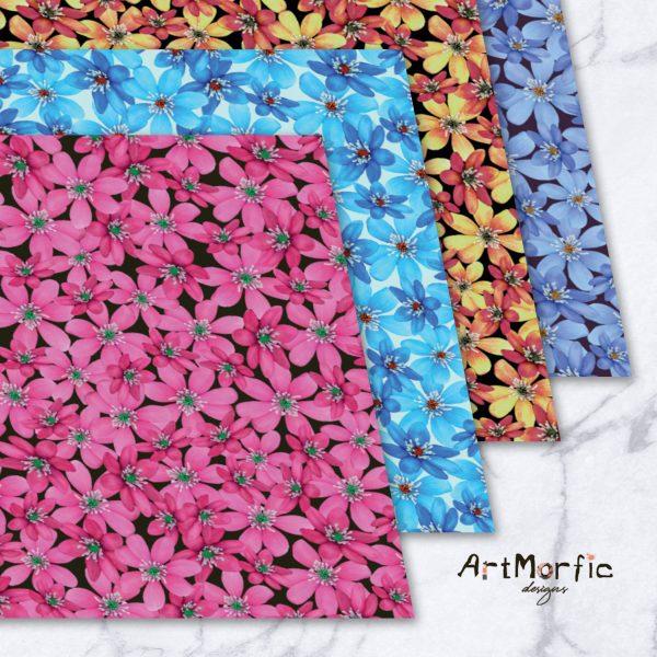 Hepatica Nobilis Flower Seamless Pattern Bundle